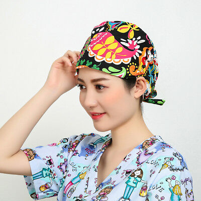 Women's Bright Flowers Printing Scrub Hat Medical Surgical Surgery Head Wrap
