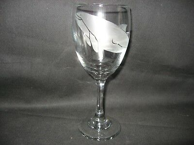 New Etched Porpoise Dolphin Wine Glass