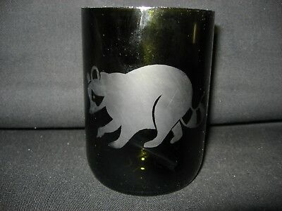 New Etched Raccoon Glass Wine Bottle Pencil Holder