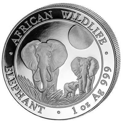 New 2014 Somalia Silver African Elephant 1oz Silver Bullion Coin (In a Capsule)
