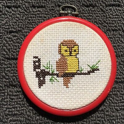 """SWEET BABY OWL """"Red"""" Finished Cross Stitch Needlework in Embroidery Hoop"""