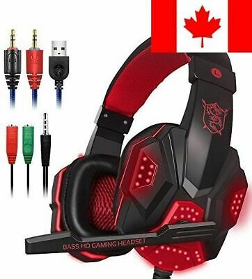 Gaming Headset with Mic and LED Light for Laptop Computer, Cellphone, PS4 and...
