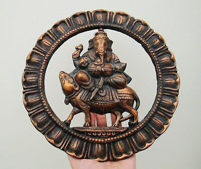 Large Old Round Indian Wall Plaque Hindu Icon Shrine of Ganesh Riding A Nandi -