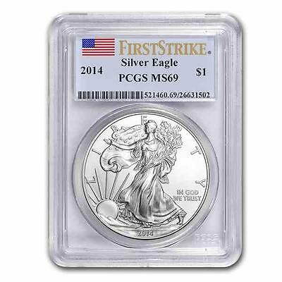 Brand New 2014 American Silver Eagle 1oz First Strike PCGS MS69 Graded -Last One