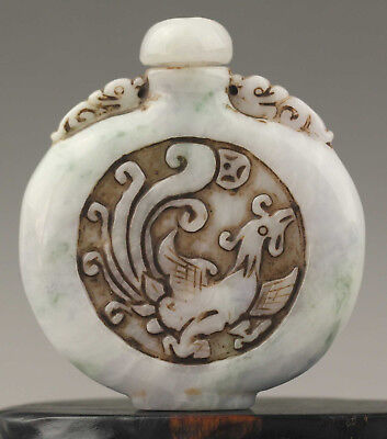 China old natural grade A jadeite hand-carved dragon and phenix Snuff Bottle