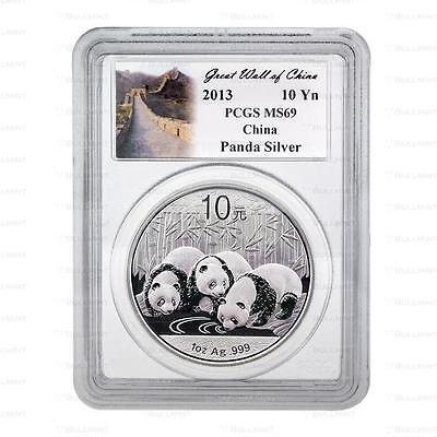 New 2013 Chinese Silver Panda 1oz PCGS MS69 Graded Slab Coin (Great Wall Label)