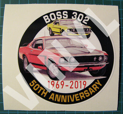 "1969 Mustang Boss 302 - 50Th Anniversary Vinyl Sticker - Decal 4"" - Muscle Car"