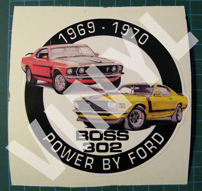 "1969-70 Mustang Boss 302 Vinyl Sticker-Decal 4"" - Power By Ford-Muscle Car"
