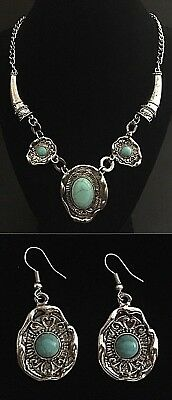 New Turquoise And Tibetan Silver Boho Peasant Necklace And Dangle Earrings Set