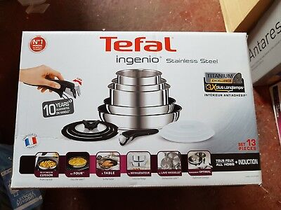 New TEFAL Ingenio 13 Piece Stainless Steel Pan Set with Detachable Handle