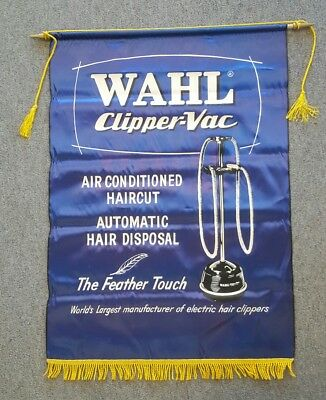 Vintage Wahl Clipper Vac Barber Shop Banner Sign Hollywood Union Made Pole Chair