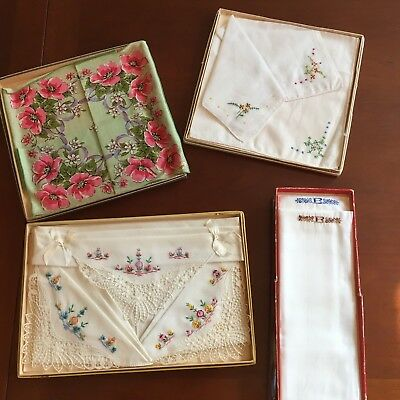Lot of 9 Vintage Hankies - Mixed Ladies and Mens - New in Boxes