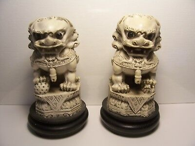 Vintage Resin Netsuke/okimono Foo Dogs On Wooden Base.