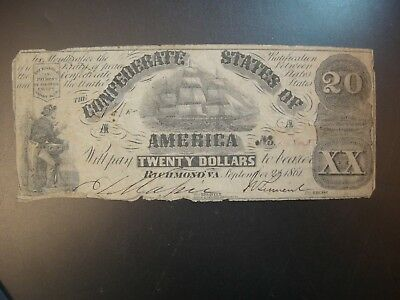 Sept. 2nd 1861 Conferderate States of America $20. Fine Details. F #CS18