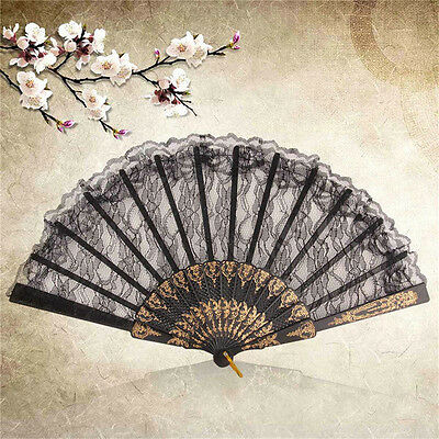 Spanish Style Dance Party Wedding Lace Silk Folding Hand Held Flower Fan ATUJ