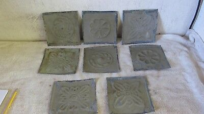"8  Antique 6 "" x 6 "" Detailed Salvaged  Victorian Tin Ceiling Tiles"