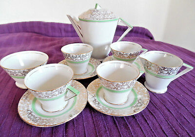 Vintage Palissy Art Deco 1930s Tea Set Green White Gold 4 cups & saucers etc