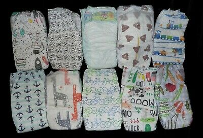 6-Honest Co. Size 1, Boy mix Diapers, for reborn baby, doll, or baby shower deco