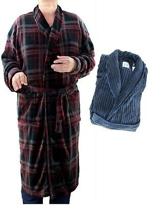 MAJESTIC Men s Plush Fleece ROBE Dressing Gown Lounger Bathrobe - Design  Choice eff601d65