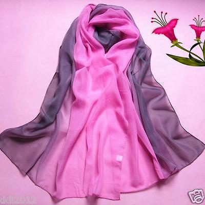 Fashion Women's Lady Gradient Color Long Wrap Shawl Chiffon Scarf Scarves 2017