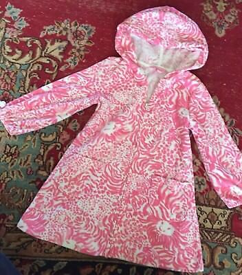 Girls Lilly Pulitzer Terry Cloth Cover Up Pink White Lion Heads Hooded Small 4 6