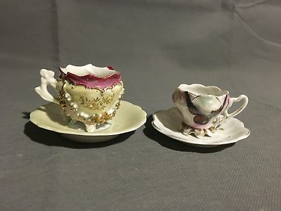 Vintage Set Of Two Miniature Tea Cups And Saucers One Floral One Bird Porcelain