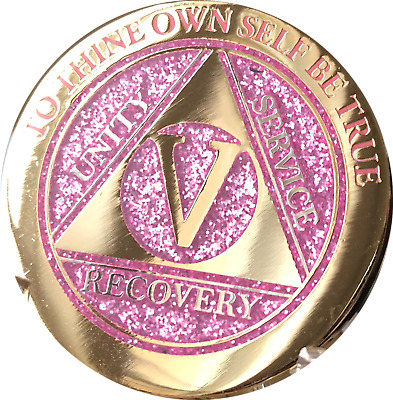 5 Year AA Medallion Elegant Glitter Pink Gold Plated Sobriety Chip Coin Five