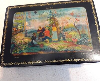 Antique Russian  Box Hand Painted Fully Signed Early Box
