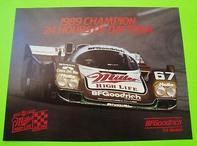2 Diff PORSCHE 962 IMSA RACE CAR BROCHURES / CARDS 24-Hrs of Daytona 1987 / 1989