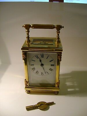 Small Antique French Carriage Clock Fully Overhauled March 2017 + Key In Gwo