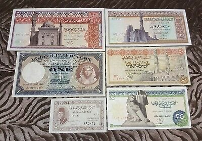 1948, 50, 68, 71, 74 Egyptian Currency 5,25,50 Piastres & 1,10 Pounds (6 Notes).