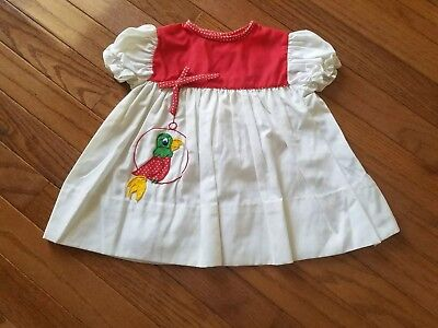 Vintage Baby Girl Red White Parrot Bird Applique Bow Dress Size 12 Months