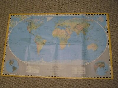 NATIONAL GEOGRAPHIC PHYSICAL MAP + GENERAL REFERENCE MAP OF THE WORLD 1989 Mint