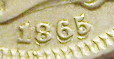 VF 1865/1865 3 Cent Nickel, Repunched Date (RPD-001) FS-002.5, AWESOME RPD!!