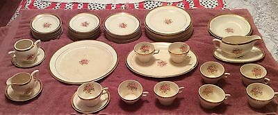 VTG China 22-K Royal Etched Gold 65pc 12 Place Set White & Rose Dinnerware