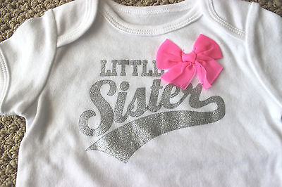 Carter's 9 12 M Bodysuit Tee Shirt Top Little Sister Bow Glitter Girl's FREE NWT