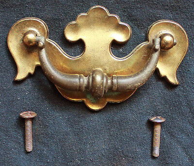 2 available Vintage Solid Brass Drawer Cabinet Furniture Door Pull Handle Plate