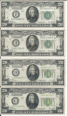 Set of 4 notes 1928 20$: big D, G & Numerical 3,7-Redeemable in gold, VF-XF -00M