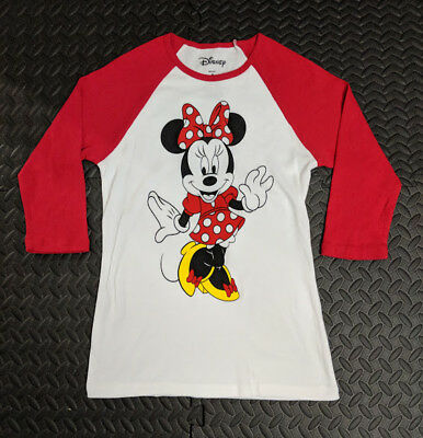 Disney Minnie Mouse YOUTH Girls White and Red Raglan Style Shirt sz Small
