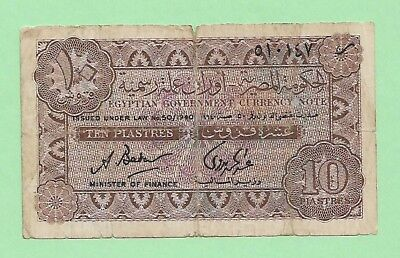 1940 Egyptian Currency 10 Piastres. P-166  S. # 510147 Very Rare.