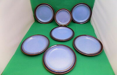 Denby Blue / Brown Rim 6 Salad Plates and Side Plate