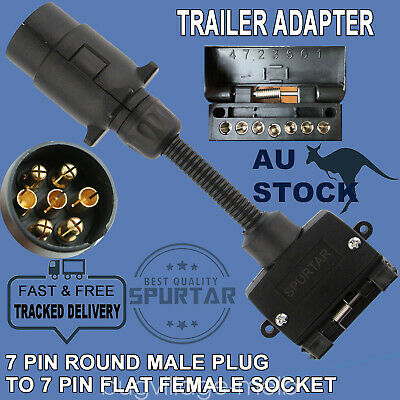 7 Pin Round Male Plug to 7Pin Flat Female Socket Adaptor Trailer Connector