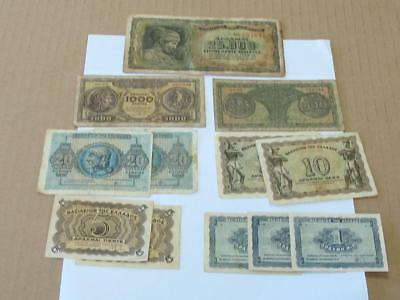 Group Greece 1944 Drachmas Circulated Type Notes Great For The Book
