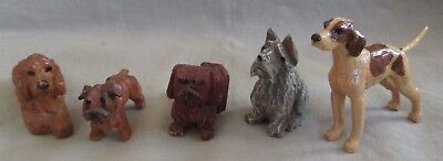 Lot of 5 Hand Carved Vintage Miniature Wood Dog Figures
