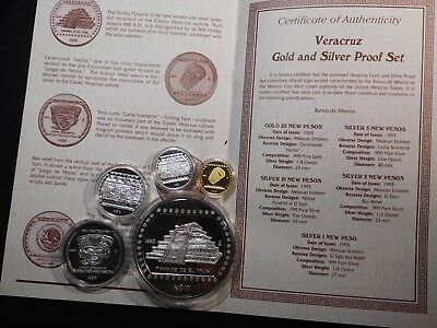 H38 Mexico 1993 GOLD 1/4 Oz. & Silver 5 Coin Proof Set w/ COA