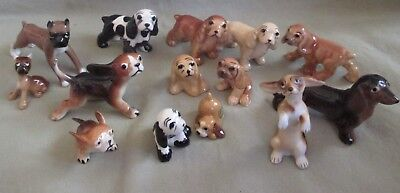 Lot of 14 Vintage Miniature Ceramic Dog Figures