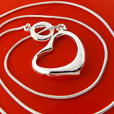 Necklace Chain Real 925 Sterling Silver S/F Solid Belcher Heart T'bar Design