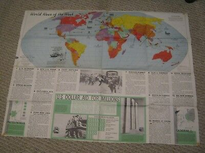 VINTAGE WORLD NEWS OF THE WEEK MAP May 1960 U.S. Defense Spending Abroad