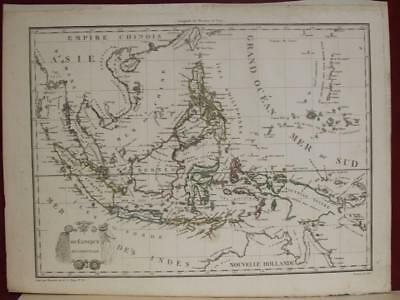 East Indies Papua New Guinea Australia Southeastern Asia 1812 Lapie Antique Map