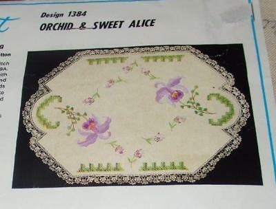 "UNWORKED 3 PCE VANITY SET ""ORCHID & SWEET ALICE ""MYART DOILYS to EMBROIDER~#1384"
